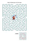 Maze game with teddy bear and snowman Stock Photo