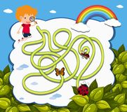 Maze game template with boy and ladybug royalty free illustration