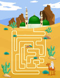 Maze game template with mosque background Stock Photography