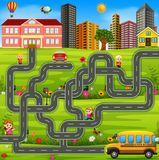 Maze game template with school bus