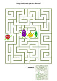 Maze game with tomato and his vegetable friends Royalty Free Stock Image