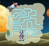 Maze Game van astronaut vindt een weg aan raket royalty-vrije illustratie