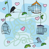 Maze game -Vector illustration with funny birds. Find the right way Royalty Free Stock Photography
