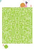 Maze game. Vector illustration of maze game for kids with snail drooling for clover. Answer available on additional format Royalty Free Stock Photography