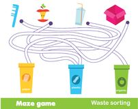 Maze game: waste sorting. Put trash into garbage bins. Ecology theme activity for children and kids.  Vector Illustration
