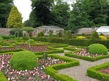 Maze Garden. A lovely garden with maze paths and flowers, plants and trees Royalty Free Stock Image
