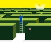 Maze garden. The shortcut way to got the key Royalty Free Stock Image