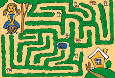 Maze girl lost in woods Royalty Free Stock Image