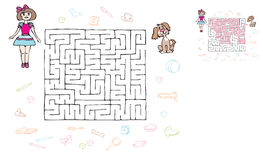 Maze girl and puppy. Game road, find a way for the girls to the puppy royalty free illustration