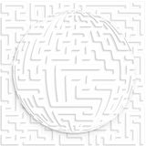 Maze globe on maze background Stock Photo