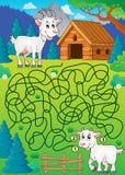 Maze 32 with goat theme. Eps10 vector illustration Royalty Free Stock Photo