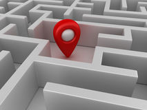 Maze with Gps Marker in Center Royalty Free Stock Image