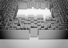 Maze on gray background. Concept for decision-making. 3d illustration Royalty Free Stock Image