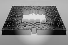 Maze on gray background. Concept for decision-making. 3d illustration Stock Photo