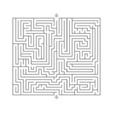 Maze hard design puzzle with specify input and output White Stock Photos