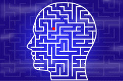 Maze in head on blue Royalty Free Stock Photo