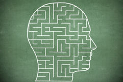 Maze in head on chalkboard Royalty Free Stock Photo