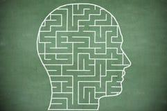 Maze in head on chalkboard royalty free stock photo