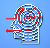 Maze Head. 3D brain concepts directional learning perception intelligence royalty free illustration