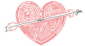 Maze Heart - heart in labyrinth Stock Image