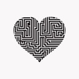 Maze heart Valentine Day Puzzle find the way black on white 2.  Stock Images