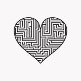 Maze heart Valentine Day Puzzle find the way black on white 1 Royalty Free Stock Image