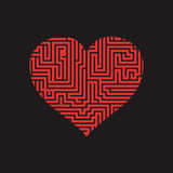 Maze heart Valentine Day Puzzle find the way red on black 2 Stock Photography