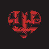 Maze heart Valentine Day Puzzle find the way red on black 3.  Royalty Free Stock Photos