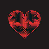 Maze heart Valentine Day Puzzle find the way red on black 1.  Stock Photography