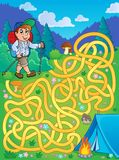 Maze 1 with hiker outdoor. Eps10 vector illustration Stock Photo