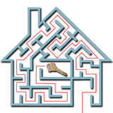 Maze home puzzle solution house key shadow royalty free illustration