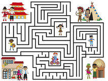 Maze. Illustration of maze with different people Royalty Free Stock Photos
