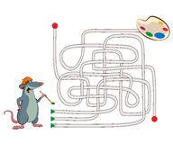 Maze. Illustration of an mouse artist Stock Photos