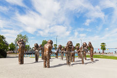 A-maze-ing Laughter bronze sculpture in Morton Park on June 25, 2017 in Vancouver, Canada. The installation shows playfulness, joy Royalty Free Stock Photography