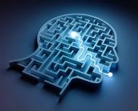 Maze inside a head. From brain to speech Stock Photos