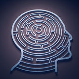 Maze inside a head. Cognition and psychology concept Royalty Free Stock Image