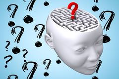 maze inside head graphic with questionmarks Royalty Free Stock Photo