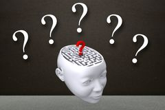 maze inside head graphic with questionmarks Royalty Free Stock Photography