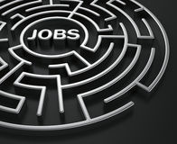 Maze - job search. 3d rendering of a maze with jobs written to symbolize searching for a job Stock Photo