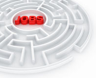 Maze - job search. 3d rendering of a maze with jobs written to symbolize searching for a job Royalty Free Stock Photos