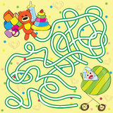 Maze for kids - help the baby to get toys Stock Images