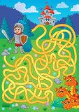 Maze 1 with knight and dragon theme Stock Photo