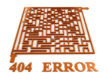 Maze labyrinth with 404 error Stock Photography