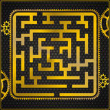 Maze or labyrinth as golden gear Royalty Free Stock Image