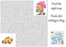 Maze or labyrinth for children with clownfish and plants Stock Photos