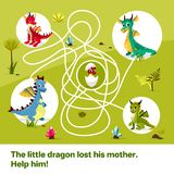 Maze labyrinth children game cartoon illustration of dragons help find way to child egg on tangled way vector illustration
