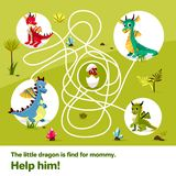 Maze labyrinth children game vector cartoon illustration of dragons help find way to child egg on tangled way. Maze labyrinth children game vector illustration Stock Image