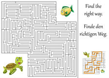 Maze or labyrinth for children with turtle and fish Royalty Free Stock Image