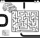 Maze or labyrinth for coloring. Cartoon Illustration of Education Maze or Labyrinth Game for Children with Car Character Coloring Page Stock Photography