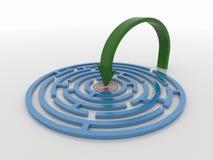 Maze Labyrinth 3D übertragen mit grünem Pfeil, um anzuvisieren Lizenzfreie Stockfotografie